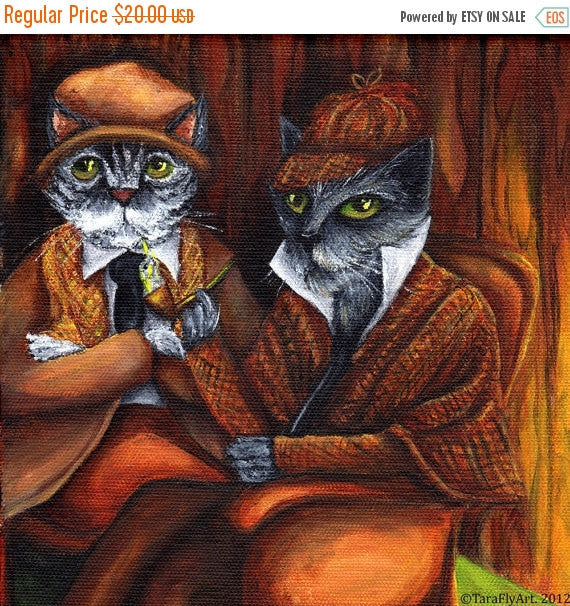 ON SALE Sherlock Holmes and Watson, Cat Detectives in Study, 8x10 Fine Art Print