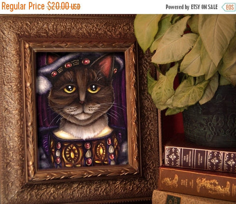 ON SALE King Henry VIII Cat Art, Brown Tabby Cat Dressed as Tudor King, 8x10 Fine Art Print