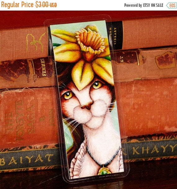 ON SALE Daffodil Cat Bookmark,Flower Fairy Cat Art Bookmark