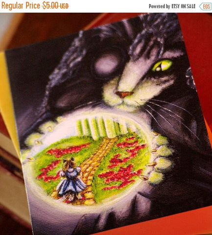 ON SALE Wicked Witch Cat, Wizard of Oz, Cat Art 5x7 Blank Greeting Card