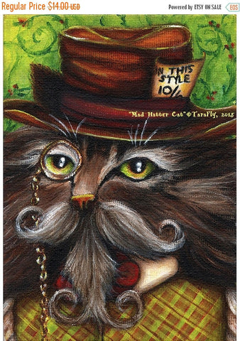 ON SALE Mad Hatter Cat, Alice in Wonderland Fantasy Cat Art Print 5x7