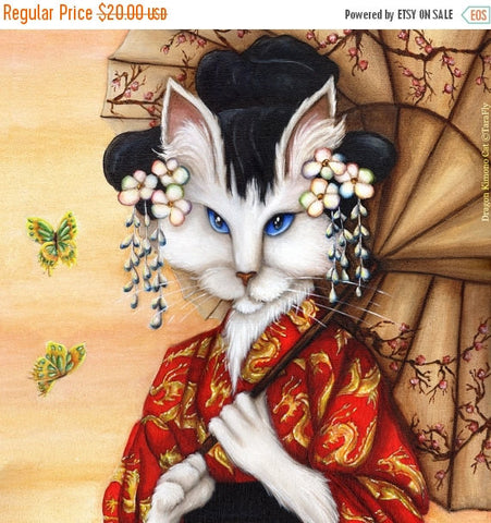 ON SALE Japanese Cat Art White Cat Wearing Red Kimono with Dragons 8x10 Fine Art Print