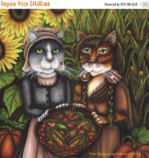 ON SALE Thanksgiving Cat Art, Pilgrim Autumn Harvest 5x7 Fine Art Print