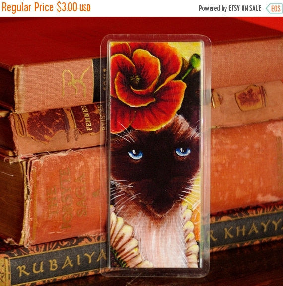 ON SALE Poppy Cat Bookmark, Flower Fairy Cat Art Bookmark