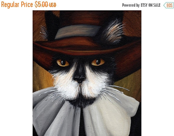 ON SALE Pilgrim Cat Art, Tuxedo Cat Puritan 5x7 Fine Art Print CLEARANCE