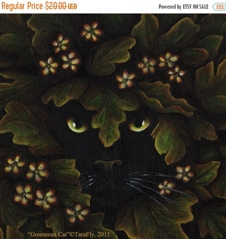ON SALE Greenman Cat Leaves 8x10 Fantasy Art Print