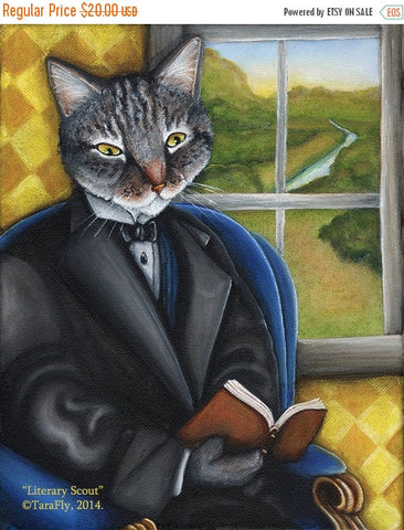 ON SALE Literary Cat Reading Book by Window 8x10 Art Print