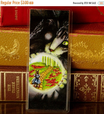 ON SALE Wicked Witch Bookmark Crystal Ball Wizard of Oz Inspired Cat Bookmark