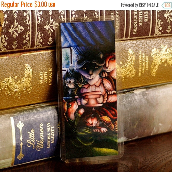ON SALE Little Women Cat Art Bookmark, Louisa May Alcott Story Quote Bookmark