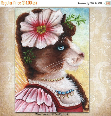 ON SALE Cosmos Fairy Cat Flower Fantasy Art 5x7 Fine Art Reproduction Print