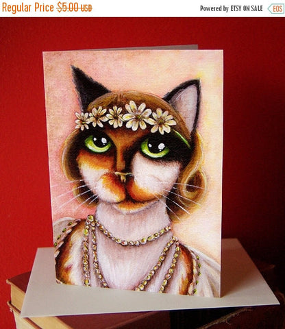ON SALE Daisy Calico Cat 5x7 Blank Greeting Card, Great Gatsby Flapper Cat Art