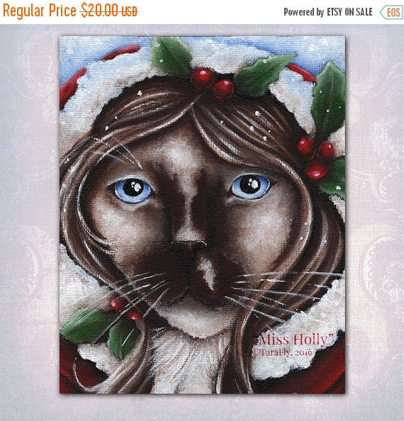 ON SALE Christmas Cat Holly Berry, Ragdoll Cat Fantasy Art, 8x10 Fine Art Print