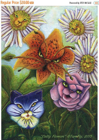 ON SALE Flower Cats, Fantasy Art Alice in Wonderland Through the Looking Glass Garden