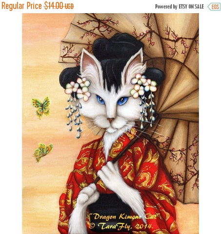 ON SALE Japanese Cat Art, Blue Eyed White Cat Wearing Red Kimono, 5x7 Fine Art Print