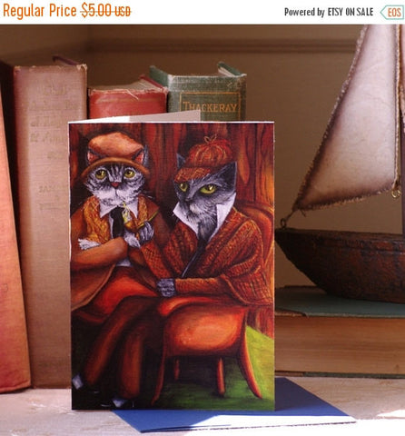 ON SALE Cats Dressed as Sherlock Holmes and Dr Watson, Blank Art Greeting Card