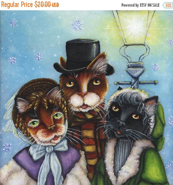 ON SALE Victorian Cat Carolers Christmas Holiday Winter 8x10 Fine Art Print
