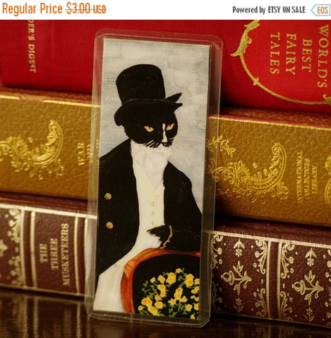 ON SALE Mr Darcy Cat Bookmark, Pride and Prejudice Laminated Paper Bookmark
