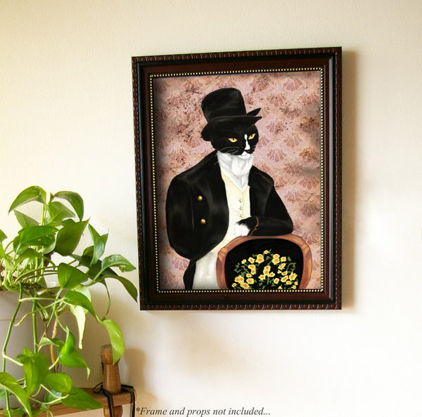 ON SALE Mr Darcy Tuxedo Cat Art, Pride and Prejudice Animal Portrait 8x10 Art Print