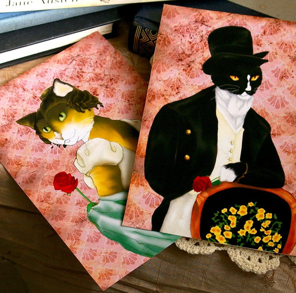 ON SALE I Love Mr Darcy Tuxedo Cat Art, Cat Dressed in Regency Clothes 5x7 Fine Art Print