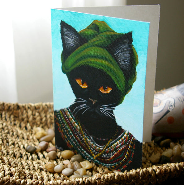 African Cat 5x7 Blank Greeting Card