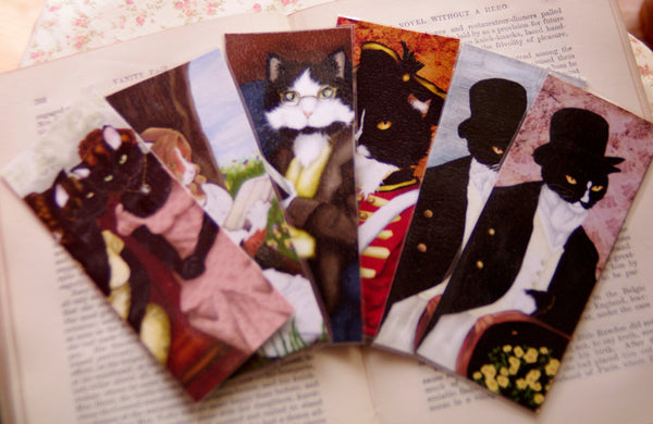 ON SALE Tuxedo Cat Bookmark, Redcoat Soldier, Pride and Prejudice Laminated Bookmark