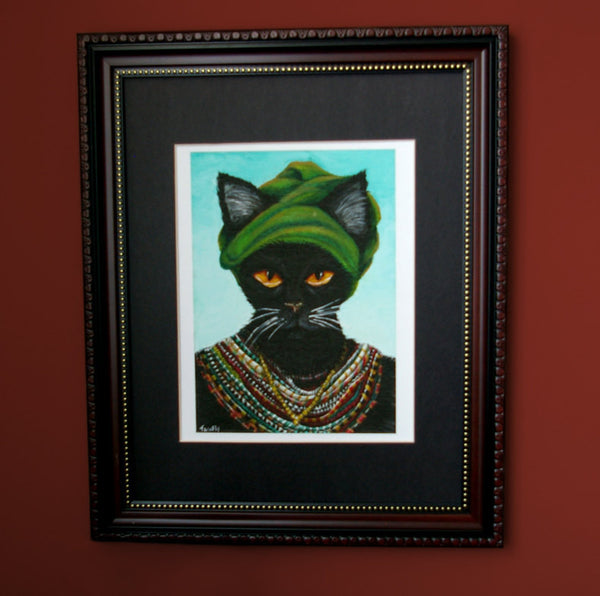 Native african cat wearing tribal jewelry art print