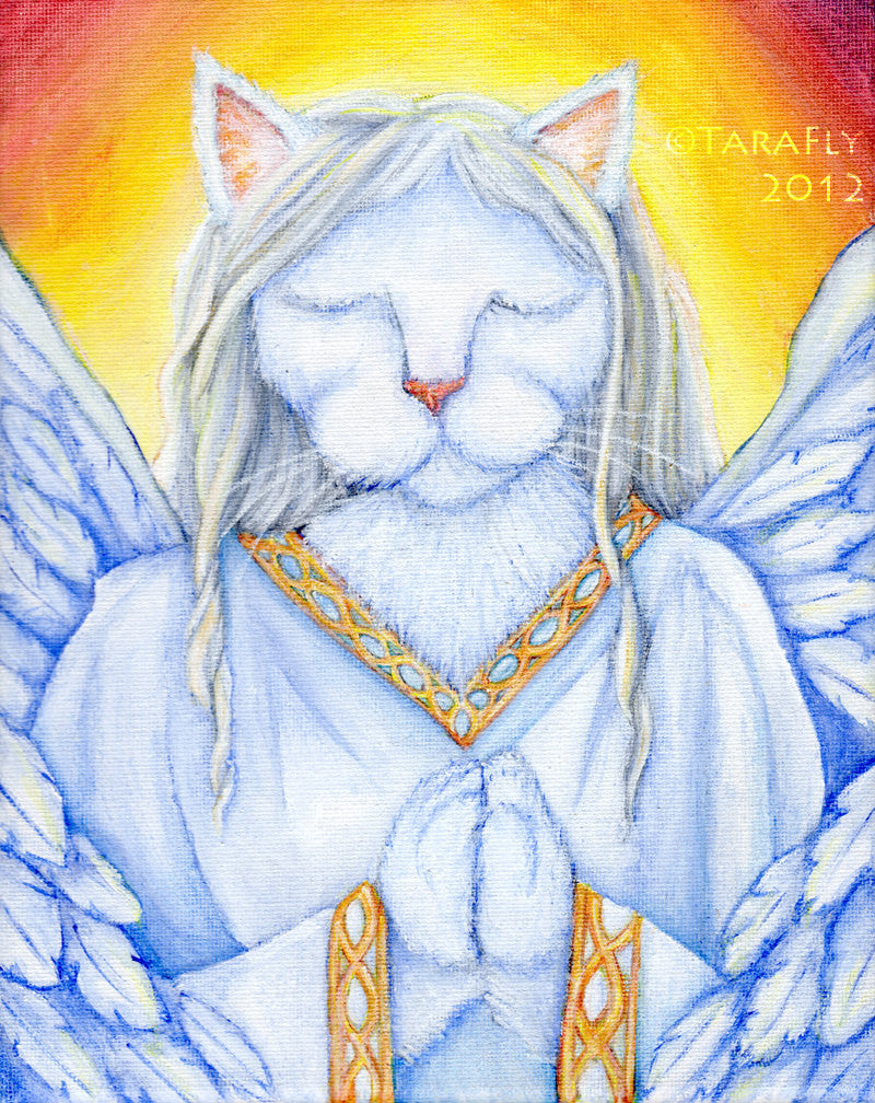 White Angel Cat Fine Art Print