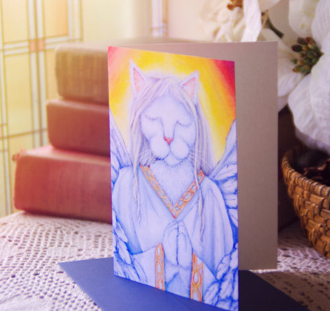 Angel Cat Blank 5x7 Greeting Card