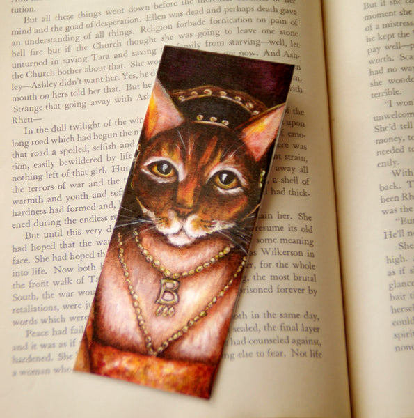 Anne Boleyn Cat art bookmark