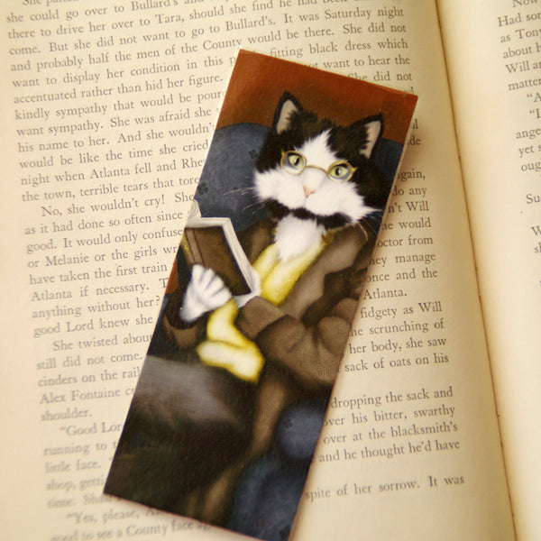 ON SALE Cat Reading Book, Mr Bennet Tuxedo Cat, Pride and Prejudice Laminated Bookmark