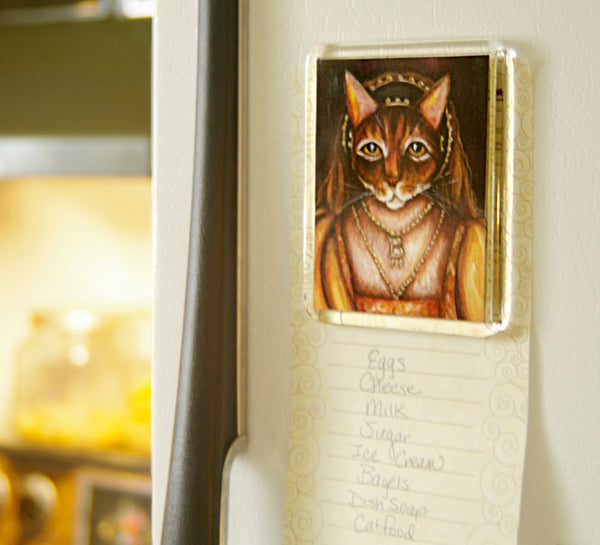 Anne Boleyn Cat art magnet