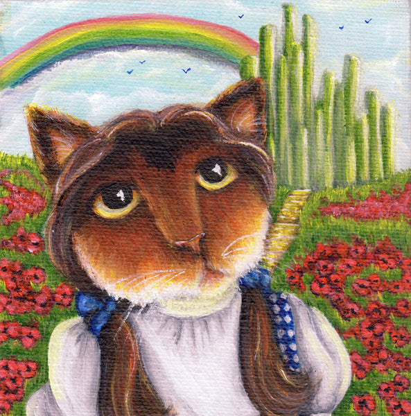ON SALE Wizard of Oz, Dorothy Cat, Emerald City, Rainbow, Calico Cat 8x10 Fine Art Print