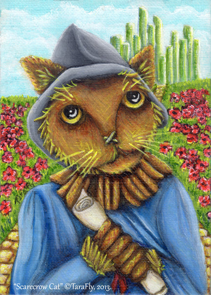 ON SALE Wizard of Oz Scarecrow Cat Emerald City Yellow Brick Road, Cat Art Print
