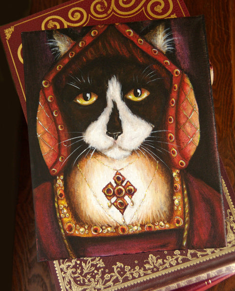 ON SALE Catherine Aragon Cat, Black and White Cat in Tudor Dress, King Henry VIII
