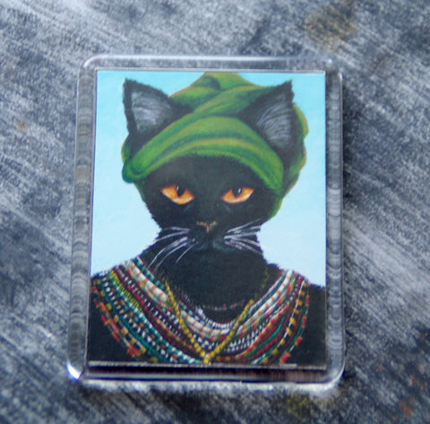 African native tribal black cat magnet