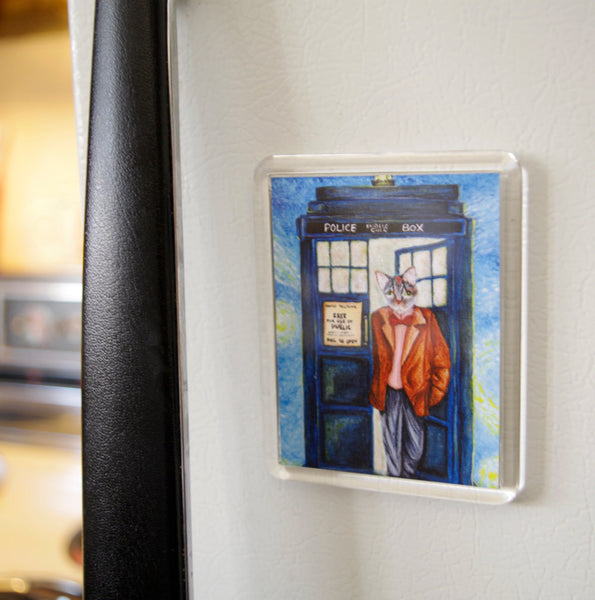 ON SALE Doctor Cat Magnet, Grey Tabby Cat, Time Traveling Police Call Box, Fridge Magnet