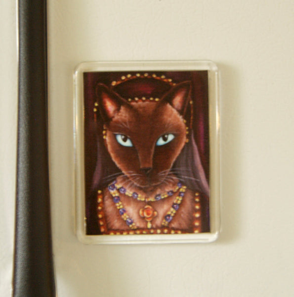 ON SALE Tudor Cat Magnet, Siamese Cat as Catherine Howard, Fridge Magnet