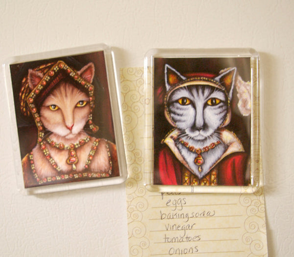 ON SALE Tudor Cat Magnet, Silver Tabby Cat as Catherine Parr, Fridge Magnet