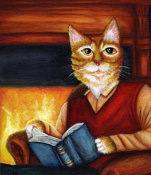 ON SALE Cat Study Magnet, Orange Tabby Cat Reading Novel by Fire, Fridge Magnet