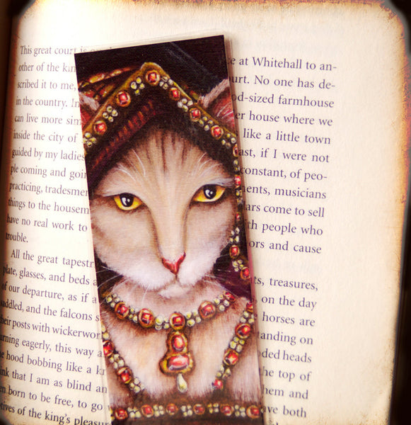 ON SALE Queen Jane Seymour Cat, Henry VIII Tudor Cats, Laminated Paper Bookmark