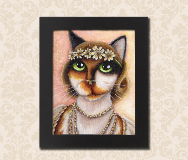 ON SALE Daisy Cat, Great Gatsby Cat Art, Portrait of a Calico Cat, 8x10 Fine Art Print