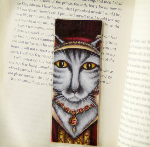 ON SALE Catherine Parr Cat Bookmark, Tudor Cats, King Henry VIII Wives Silver Tabby Cat