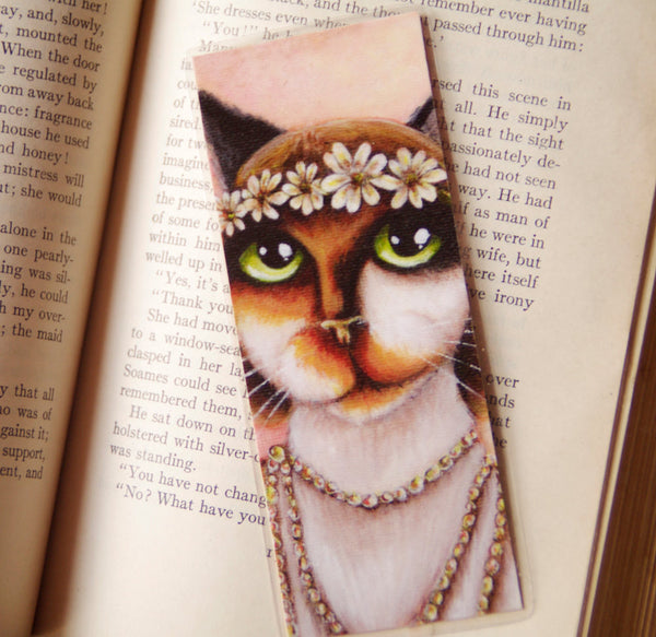 ON SALE Daisy Cat Bookmark Calico Cat Great Gatsby Roaring 1920s Inspired Cat Bookmark