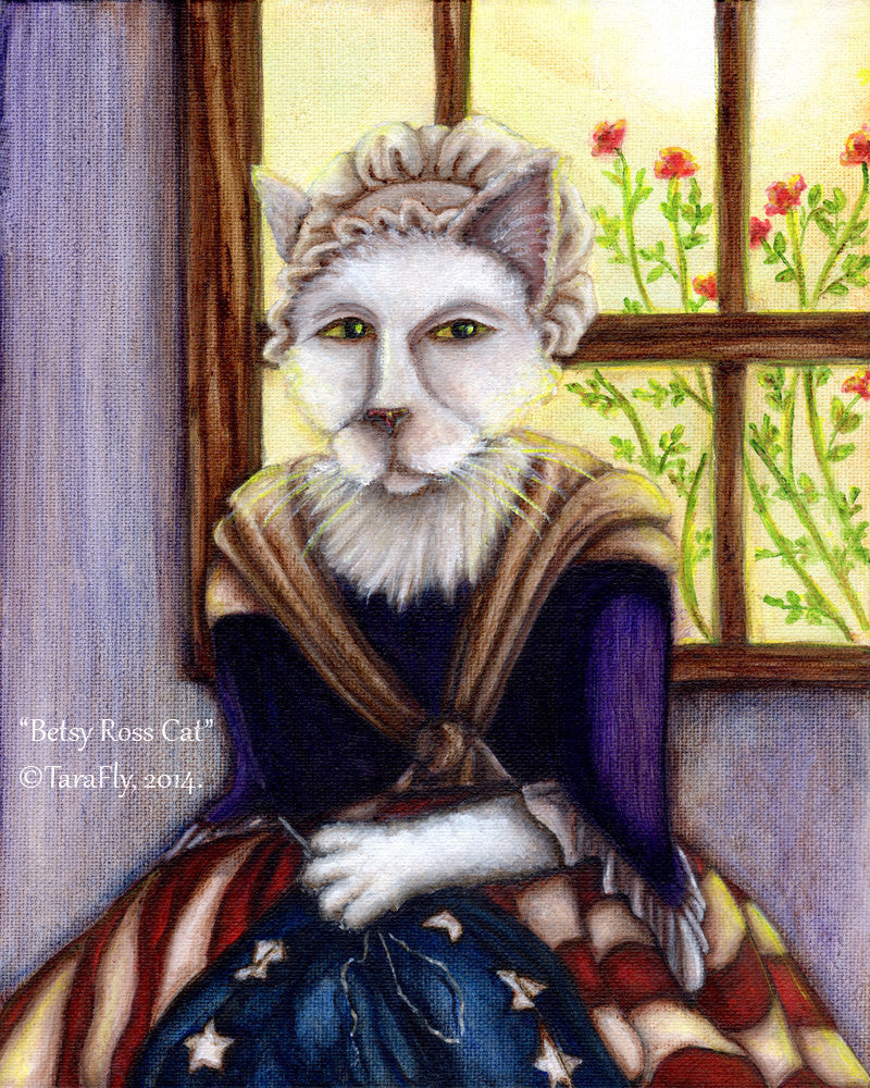 Betsy Ross Cat Sewing American Flag Art by Tara Fly
