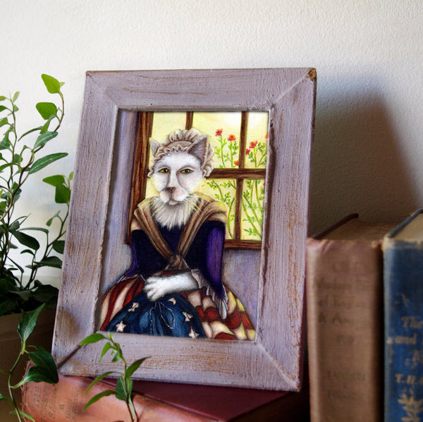 framed portrait of Betsy Ross Cat Sewing American Flag
