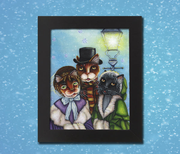 ON SALE Victorian Cat Carolers Christmas 5x7 Fine Art Print