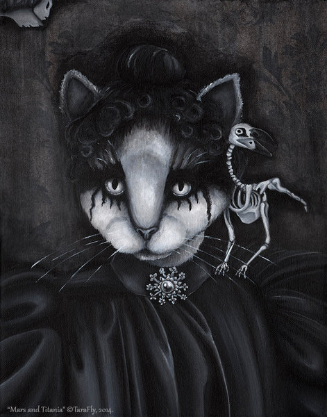 ON SALE Gothic Cat Art Bookmark, Wuthering Heights, Dead Raven Skeleton, Victorian Cat Art