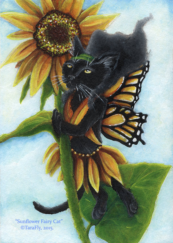 Sunflower Fairy Cat Art print by Tara Fly