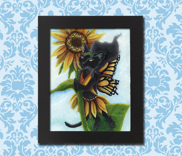 Sunflower Fairy Black Cat Art print by Tara Fly