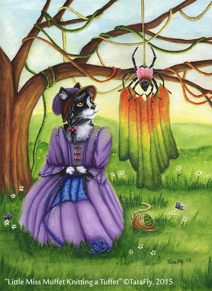 ON SALE Miss Muffet Cat Art, Nursery Rhyme, Spider Tuffet Knitting, 8x10 Art Print CLEARANCE